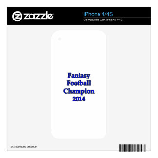 Fantasy Football Champion 2014 Decal For The iPhone 4
