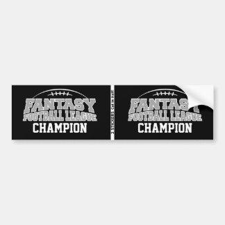 Fantasy Football Champion - Black and Silver Gray Bumper Sticker