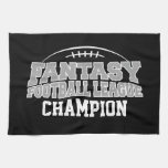 Fantasy Football Champion - Black and Silver Gray Kitchen Towels
