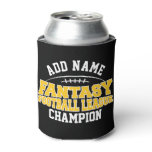 Fantasy Football Champion - Black and Yellow Gold Can Cooler