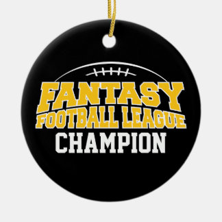 Fantasy Football Champion - Black and Yellow Gold Double-Sided Ceramic Round Christmas Ornament