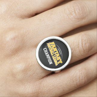Fantasy Football Champion - Black and Yellow Gold Rings