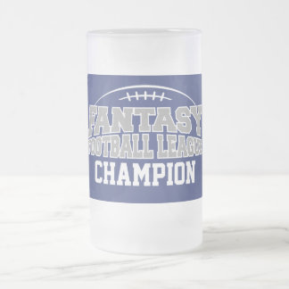 Fantasy Football Champion - Blue and Silver Gray Frosted Glass Beer Mug