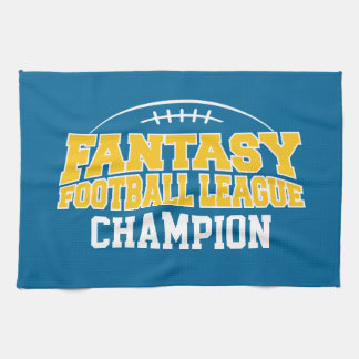 Fantasy Football Champion - Blue and Yellow Gold Kitchen Towel