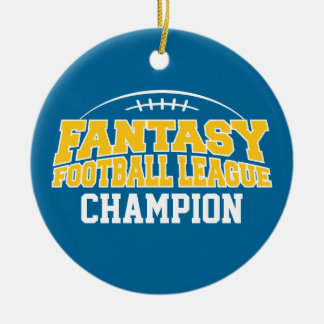 Fantasy Football Champion - Blue and Yellow Gold Double-Sided Ceramic Round Christmas Ornament