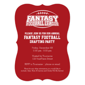 Fantasy Football Champion - Red and White Card