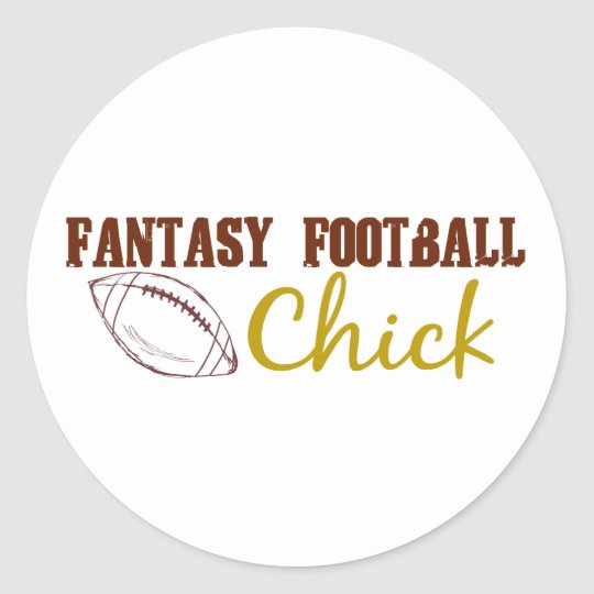 Fantasy Football Chick Classic Round Sticker