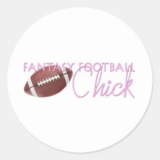 Fantasy Football Chick Round Sticker