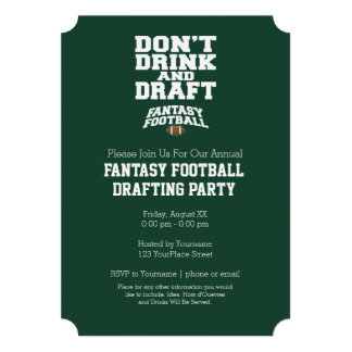 Fantasy Football - Don t Drink and Draft Cards