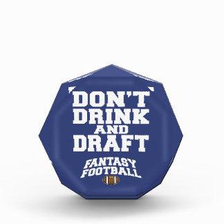 Fantasy Football Don't Drink and Draft - Navy Blue Acrylic Award