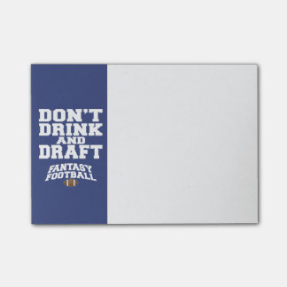 Fantasy Football Don't Drink and Draft - Navy Blue Post-it Notes