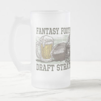 Fantasy Football Draft Strategy 16 Oz Frosted Glass Beer Mug