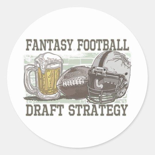 Fantasy Football Draft Strategy Classic Round Sticker