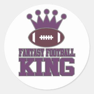 Fantasy Football King Classic Round Sticker