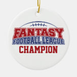 Fantasy Football League Champion Double-Sided Ceramic Round Christmas Ornament