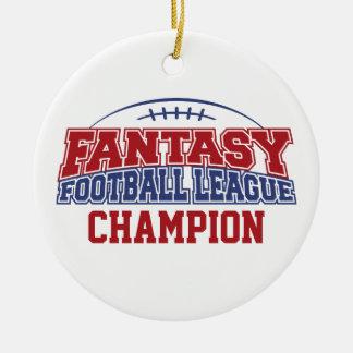 Fantasy Football League Champion Double-Sided Ceramic Round Christmas Ornament