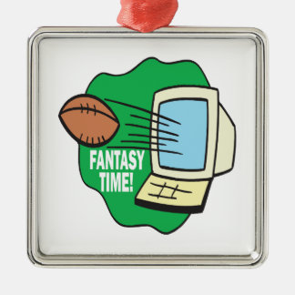 Fantasy Football Square Metal Christmas Ornament