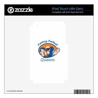 FANTASY FOOTBALL QUEEN iPod TOUCH 4G DECAL
