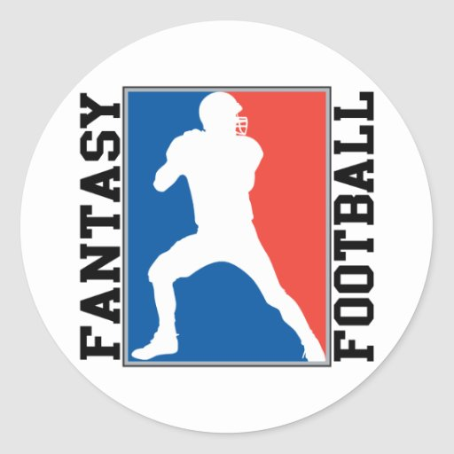 Fantasy Football, red white and blue Logo Round Stickers