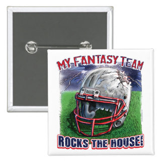 Fantasy Football Rocks the House Gear 2 Inch Square Button