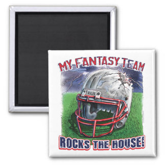 Fantasy Football Rocks the House Gear 2 Inch Square Magnet