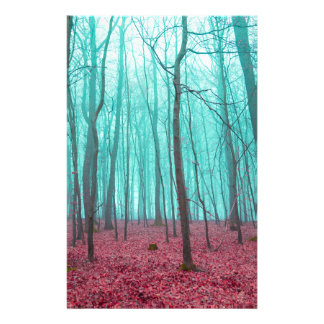 Fantasy forest in red and turquoise stationery