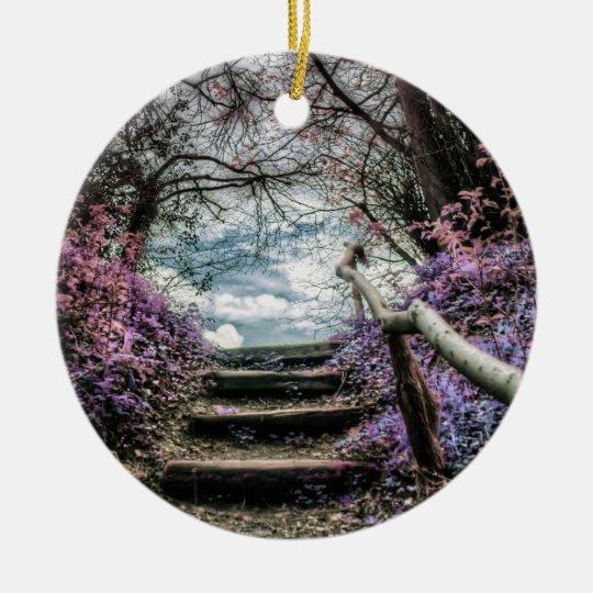 Fantasy Forest Steps Ceramic Ornament