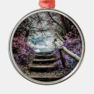 Fantasy Forest Steps Metal Ornament