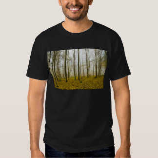 Fantasy forest with fog and yellow leaves T-Shirt