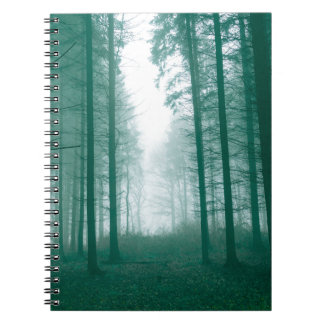 Fantasy forest with fog in Green Notebook