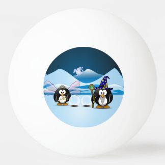 Fantasy Glacier Penguins Wizard Fairy Crystal Ball