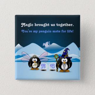 Fantasy Glacier Penguins Wizard Fairy Crystal Ball Button
