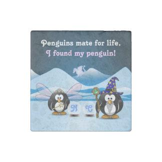 Fantasy Glacier Penguins Wizard Fairy Crystal Ball Stone Magnet