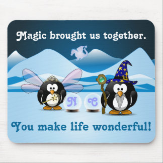 Fantasy Glacier Penguins Wizard Fairy Crystal Ball Mouse Pad