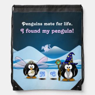 Fantasy Glacier Penguins Wizard Fairy Crystal Ball Cinch Bag