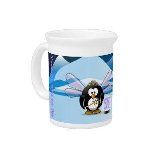 Fantasy Glacier Penguins Wizard Fairy Crystal Ball Beverage Pitchers