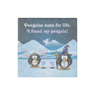 Fantasy Glacier Penguins Wizard Fairy Crystal Ball Stone Magnet