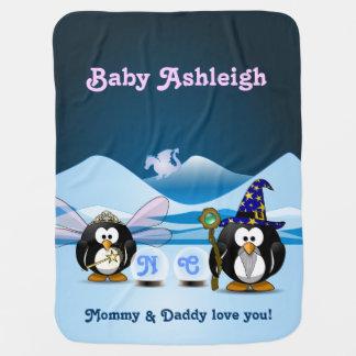 Fantasy Glacier Penguins Wizard Fairy Crystal Ball Swaddle Blanket