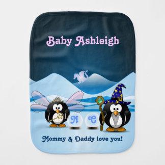 Fantasy Glacier Penguins Wizard Fairy Crystal Ball Burp Cloths