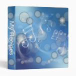 Fantasy Glass Music Notes 3 Ring Binders