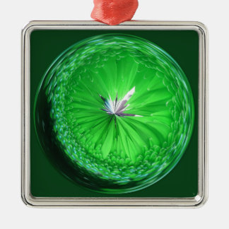 Fantasy glass orb in green. metal ornament
