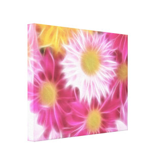 Fantasy Glassy Pink Daisies Floral Wrapped Canvas
