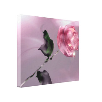 Fantasy Glassy Pink Rose Floral Wrapped Canvas