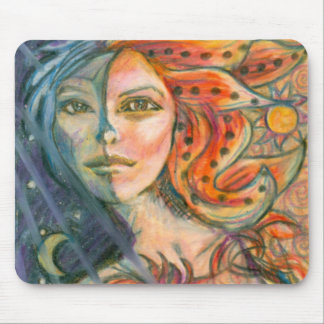 Fantasy Goddess Mouse Pad with Moon and Sun