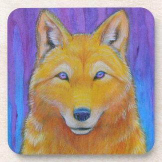 Fantasy Golden Wolf Head Drink Coaster