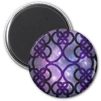 Fantasy Goth Purple Tatting Lace Night Sky Refrigerator Magnet