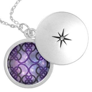 Fantasy Goth Purple Tatting Lace Night Sky Round Locket Necklace