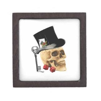 Fantasy Gothic gambler skull tattoo design Jewelry Box
