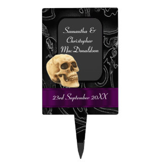 Fantasy Gothic skull black and purple wedding Cake Topper