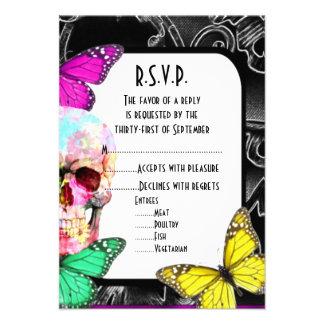 Fantasy gothic skull black wedding R.S.V.P Personalized Invite